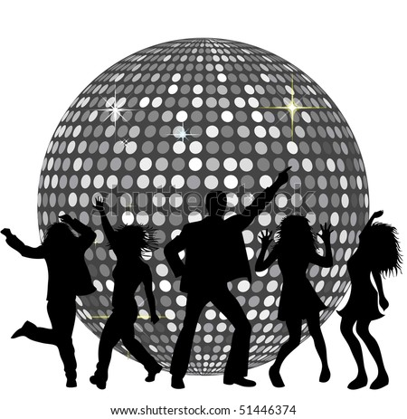 Disco Ball and dancing People - stock photo