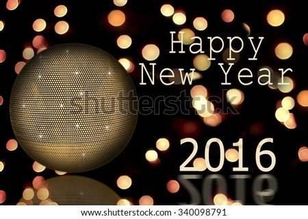 disco ball and text Happy New year  - stock photo