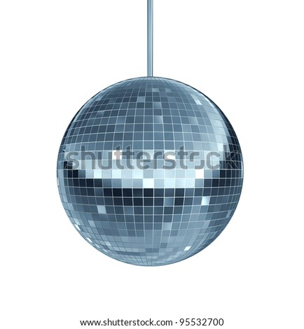 Disco ball as a mirror ball symbol of fun and dance party in a nightclub or dancing club as a celebration to let loose and enjoy the groove of the cool music beat. - stock photo