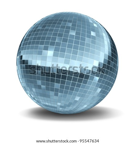 Disco ball as a single mirror ball icon of fun and dance party in a nightclub or dancing club as a celebration to let loose and enjoy the groove of the cool music beat. - stock photo