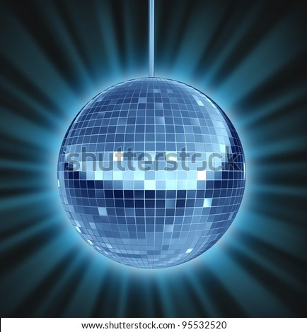Disco ball dance night as a mirror ball symbol of fun and a groovy party in a nightclub or dancing club as a celebration to let loose and enjoy the groove of the music. - stock photo