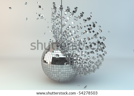 Disco ball exploding in 3d - stock photo