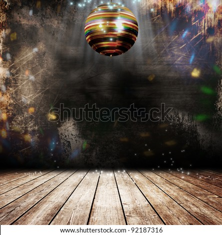 Disco ball in a old room - stock photo