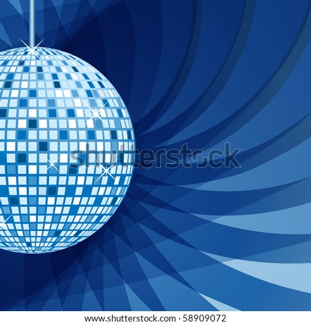 Disco ball in blue with sparkles set on an elegant blue abstract background. Vector also available.