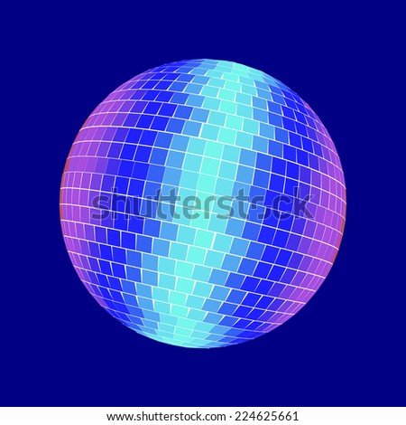 Disco ball isolated on blue - stock photo