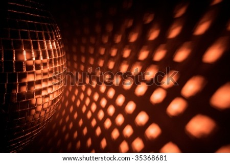 Disco ball reflection on the wall - stock photo