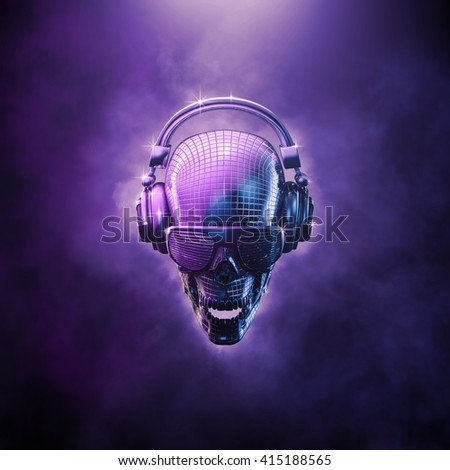 Disco ball skull / 3D illustration of skull shaped disco mirror ball with headphones and shaded glasses