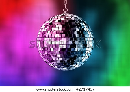 disco ball with lights - retro party background - stock photo