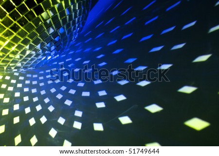 disco ball with multicolor illumination - stock photo