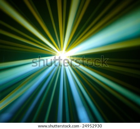 Disco ball with rays in haze - stock photo