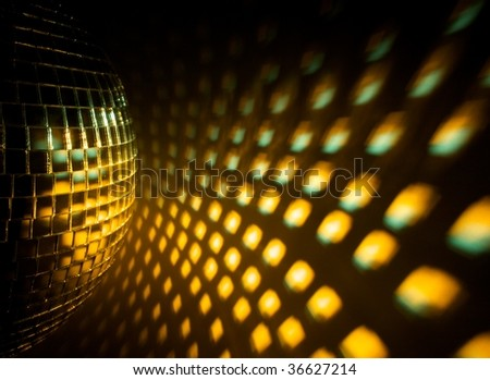 Disco ball with reflection on the wall - stock photo
