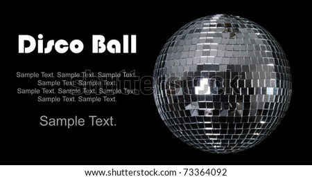 Disco Ball with Text Space to the left - stock photo