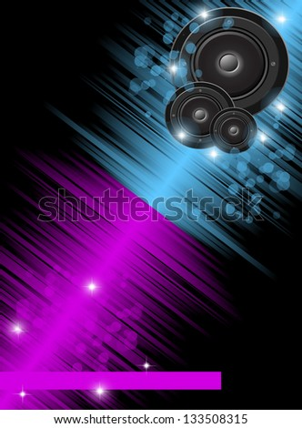 Disco club flayer with  abstract colorful design elements.
