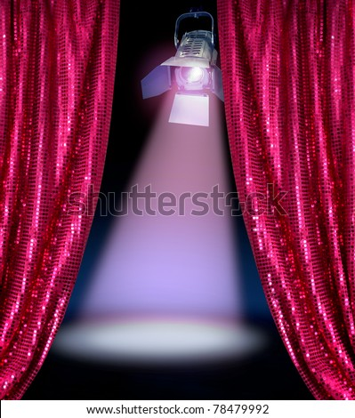 Disco curtains reveal show stage spotlight lamp dark background - stock photo