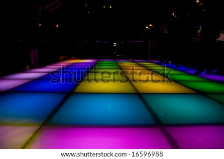 disco dance floor with colorful lighting