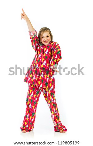disco dance move by a young girl - stock photo