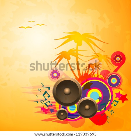 Disco Dance Tropical Music Flyer. Raster version of the loaded vector. - stock photo