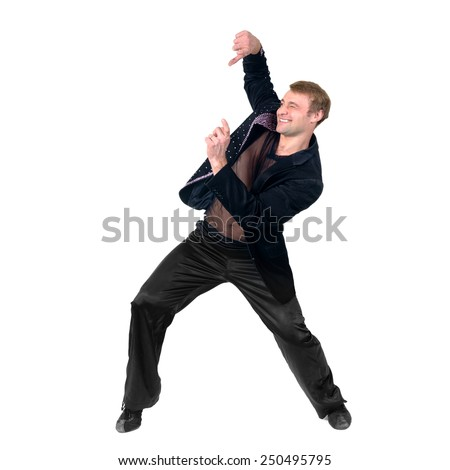 Disco dancer showing some movements against isolated white background - stock photo