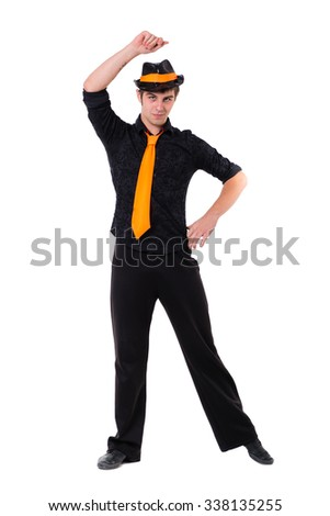 Disco dancer showing some movements against isolated white background with copyspace - stock photo