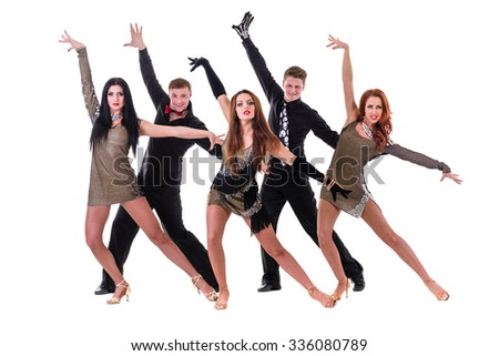 Disco dancer team dancing, isolated on white background in full length.