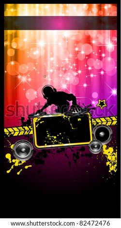 Disco Event Poster with a Disk Jockey  remixing two disks with a waterfall of glitters lights on the back and space for your music text and details. - stock photo