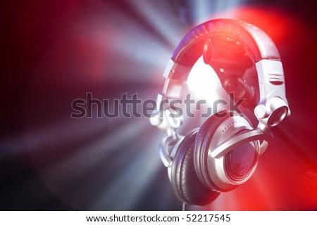 disco headphones - stock photo