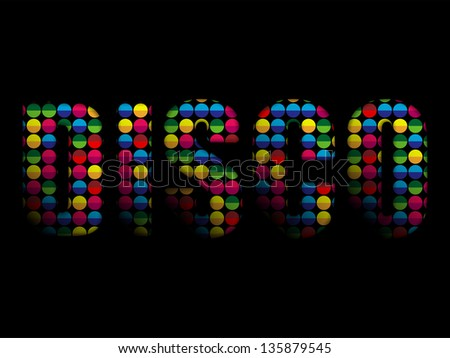 Disco Letters Party Music Colorful Alphabet - stock photo