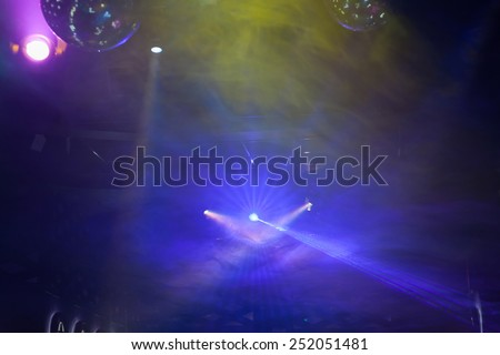 Disco light show, Stage lights with laser - stock photo