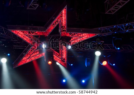 Disco lights in the shape of a star - stock photo