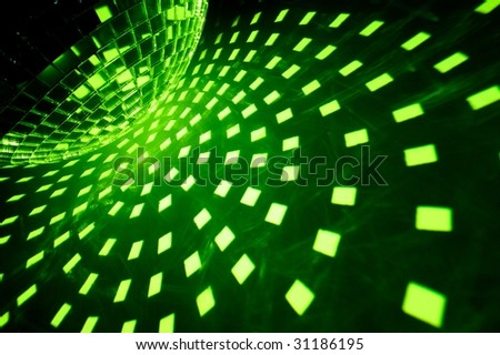 Disco lights with green illumination - stock photo