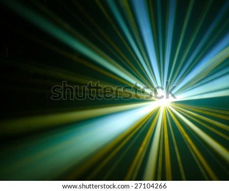 disco lights with rays in haze - stock photo