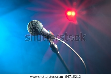disco microphone on stage - stock photo
