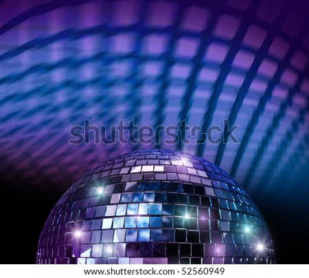 Disco mirror ball light spot reflections in blue background - stock photo