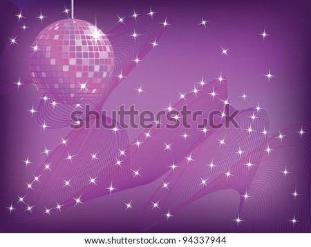 disco mirror ball over abstract waved background