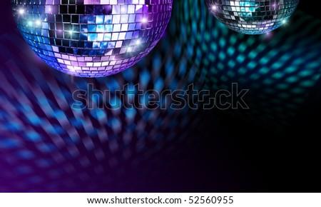 Disco mirror ball reflecting light spots on ceiling - stock photo