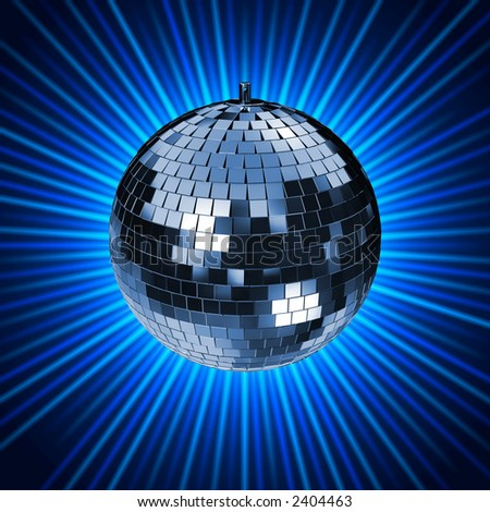 Disco Mirrorball with Lightrays. check my portfolio for variations - stock photo