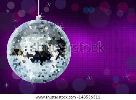 Disco party background. Disco ball illustration.