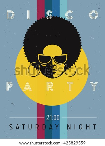 Disco party event flyer. Creative vintage poster. retro style template. Black woman in sunglasses