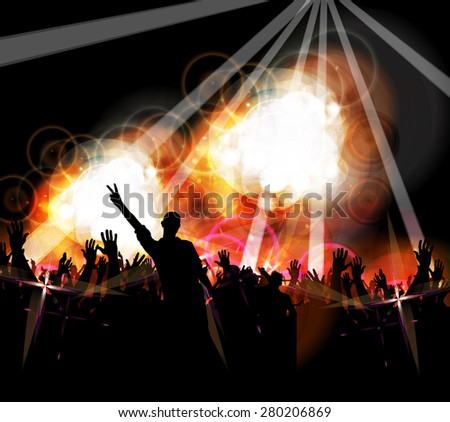 Disco party. Music event background for poster or banner - stock photo