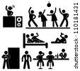 Disco Pub Night Club Bar Party Icon Symbol Sign Pictogram - stock vector