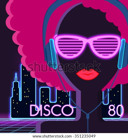 Disco 80s. Girl with headphones. Party and dance, dj and club, disco party, disco background, disco lights,  music and retro sound audio, poster vintage illustration. Raster version - stock photo