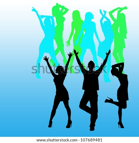 Disco. Silhouette of dancing girls and boys. Blue background