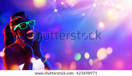 Disco Woman - Neon Makeup - Funny Scream - stock photo
