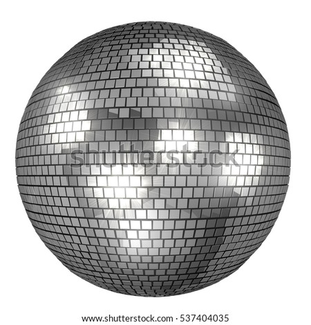 Discoball isolated on white background. 3D rendering of mirror ball with bright reflections.