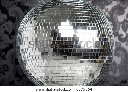 discoball with cool wallpaper background - stock photo