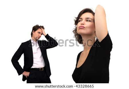 Discontented woman and tired man, isolated on white
