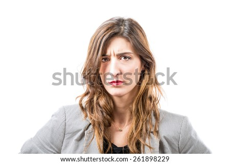 Discontented young woman. - stock photo
