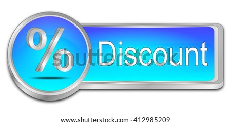 Discount button with percent symbol - 3D illustration - stock photo