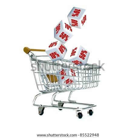 Discount cart - stock photo