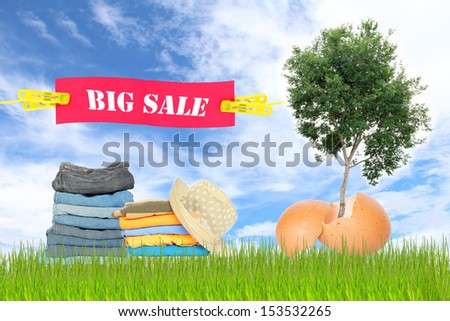 Discount clothing. - stock photo
